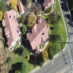 View of homes from above that are many different shapes and sizes COLORADO Stock Footage