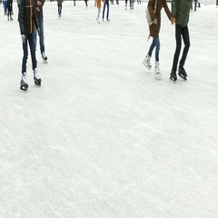 Children and adults skate in the park Sokolniki Stock Footage
