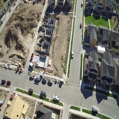 A panoramic view of the construction of a new and large neighborhood COLORADO Stock Footage
