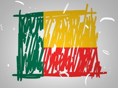 Benin - Hand drawn - Animation - outline - White Background - SD Stock Footage