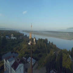 Russian Church in sunrise Velikiy Ustug, kirovsky district Stock Footage
