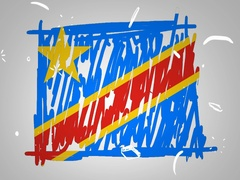 Democratic Republic of the Congo  - Hand drawn - Animation - outline - Stock Footage