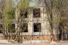 Abandoned unfinished townhouse Stock Photos