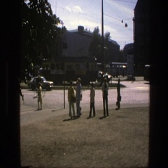 1975: people gathered at a town square SWEDEN Stock Footage