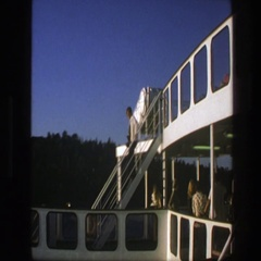 1975: a man walks down the stairs on the deck of a cruise ship SWEDEN Stock Footage