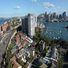 Aerial view of Sydney skyline from north Sydney Australia Stock Footage