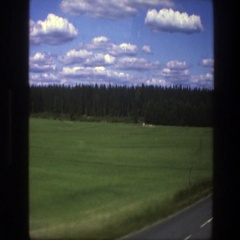 1975: a green field of gass running along the side of the road SWEDEN Stock Footage