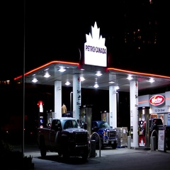 One side of Petro Canada gas station at night with 4k resolution. Stock Footage