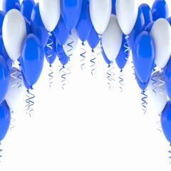Blue and white balloons on white background Stock Footage