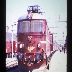 1976: red trolley car NORWAY Stock Footage