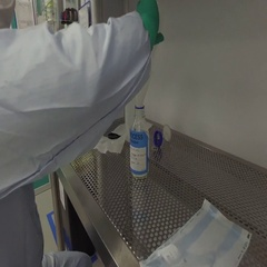 Medical research implant - Researchers in Fume hood with funnel Stock Footage