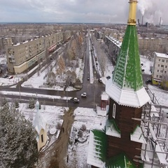 Wooden church is covered with snow. Segezha, Karelia, Russia Stock Footage