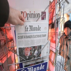 Le Monde newspapers about Donald Trump new USA president Stock Footage
