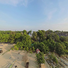 Aerial shot of sunrise in Sanur beach, camera facing the beach and descending Stock Footage