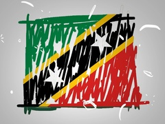 Saint Kitts and Nevis - Animation - outline - White Background - SD Stock Footage