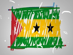 Sao Tome and Principe - Hand drawn - Animation - outline - White Backg Stock Footage