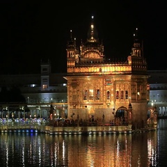 People visiting the Golden Temple in Amritsar at night. India Stock Footage
