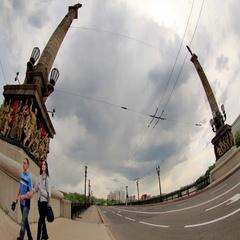 4K. Bridge on the River Kalmius in Donetsk. Stock Footage
