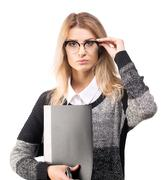 Confident smart serious business woman with a documents folder Stock Photos