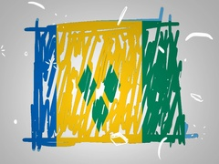 Saint Vincent and the Grenadines - Animation - outline - White Backgro Stock Footage