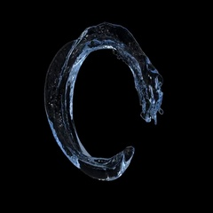 Open ring of blue turbulent water in slow motion - on black, + alpha (FULL HD) Stock Footage