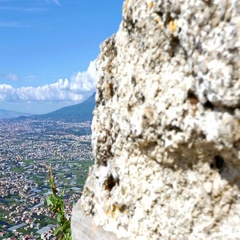 Panoramic view to Pompei valley, gulf of Naples and Mount Vesuvius Stock Footage