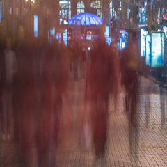 The anonymous smashed people crowd stream. Evening night time. Time lapse Stock Footage