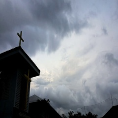Thai Protestant church with cross on the roof in sunset. time lapse clouds. Stock Footage