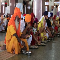 People eating free food at oup kitchen in Sikh Golden Temple, Amritsar. India Stock Footage