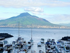 Sorrento coastline, gulf of Naples and Mount Vesuvius on the background Stock Footage