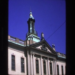 1975: federalist style building front view STOCKHOLM Stock Footage