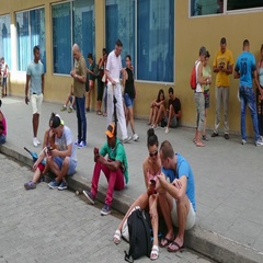 People And Tourists Connected To Wifi Network In Havana Cuba Stock Footage