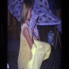 1971: little girls getting ready for bed. SAINT PAUL MINNESOTA Stock Footage