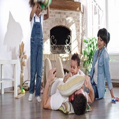 Family pillow fight Stock Footage