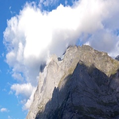 Close-up View of Mountain Peak in Cloud Stock Footage