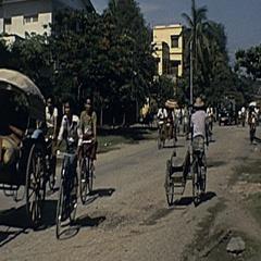 Burma 1986: bikes in the street Stock Footage