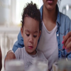 Toddler being fed Stock Footage