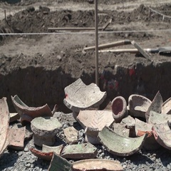 Ancient shards of bowls. Concept ages and time. Dolly Left Right closeup Stock Footage