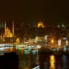 The Hagia Sophia and the river at night Stock Footage