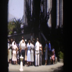 1951: a large gathering of people on the yard of a building WYOMING Stock Footage