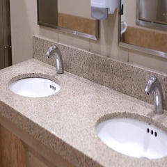 Motion of clean new public toilet room with 4k resolution Stock Footage