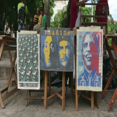 Posters And Souvenirs For Sale In Cuban Market Havana Cuba Stock Footage