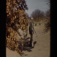1956: men with hate out for shooting with a gun LUBBOCK TEXAS Stock Footage