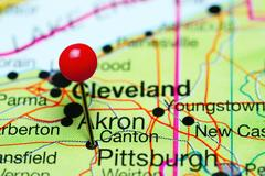 Canton pinned on a map of Ohio, USA Stock Photos