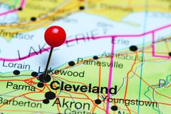 Cleveland pinned on a map of Ohio, USA Stock Photos