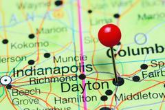 Dayton pinned on a map of Ohio, USA Stock Photos
