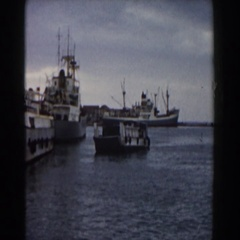 1959: a large cargo boat in a body of water next to tall mountains PISA Stock Footage