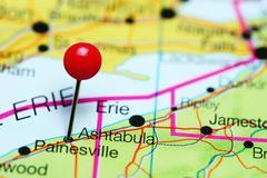 Ashtabula pinned on a map of Ohio, USA Stock Photos
