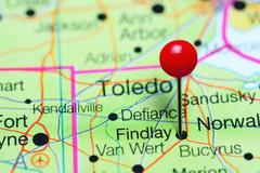 Findlay pinned on a map of Ohio, USA Stock Photos