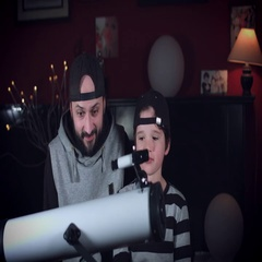 4k Family Home Shot of Child with Dad Having Fun with Telescope Stock Footage